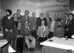 Casa de Teruel, 25-03-1980. De pie, de izda. a dcha Luis Alberto Pomarón, José Luis Pomarón,